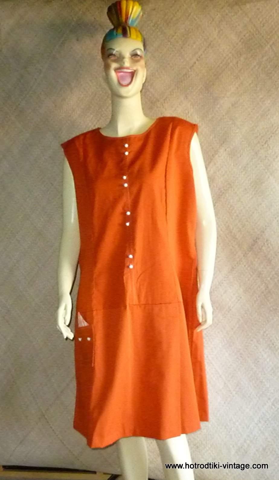 1960\'s Ladies \'Plus Size\' Orange Dress/Culottes - HRTV