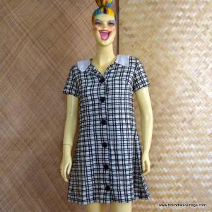 Ladies 1960's Black & White Button Up Dress 1