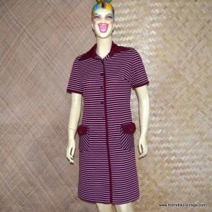 Ladies 1960's Burgundy & White Polyester Button Up Dress 1