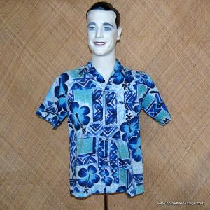 Mens 1960's Cotton Blue Hawaiian Shirt 1