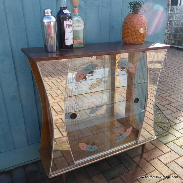1950 S Vintage Glass Display Cabinet With Fan Decoration