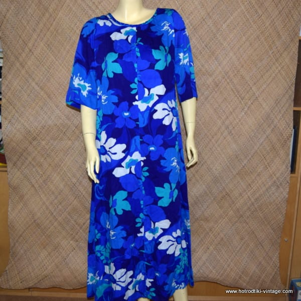 2f4ce49cfe0bd 1960 S Las Mildreds Blue Hawaiian Mumu Waterfall Dress Hrtv