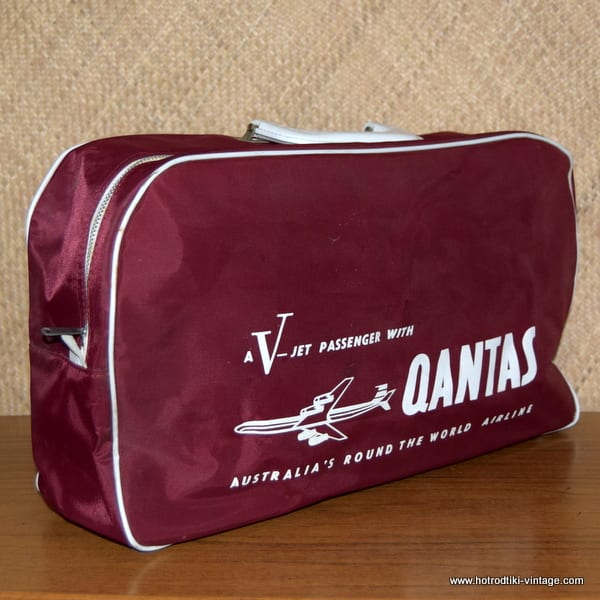 Vintage 1960 S Qantas Flight Bag 3 Hrtv