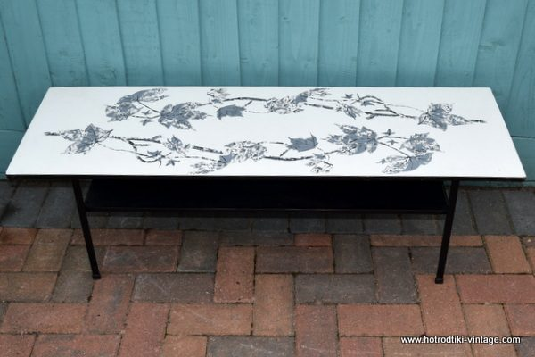 1950 S Vintage White Formica Leaf Pattern Coffee Table