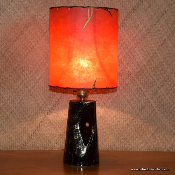 1950 S American Black Gold Table Lamp With Original Red Parchment