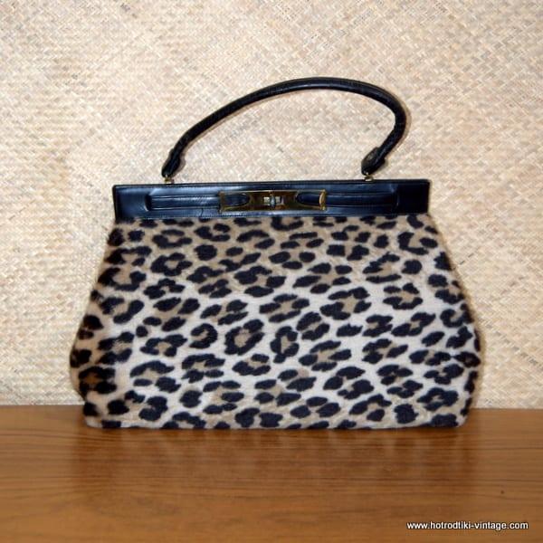 e0d640404d6e Ladies 1950's Vintage Leopard Print Fur Handbag 1