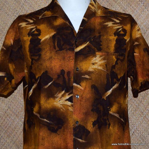 a56ba1528e87 Mens 1960's Vintage Brown Iolani Hawaiian Shirt 1; Mens ...