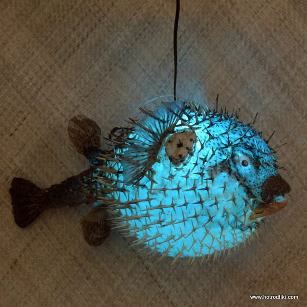 Extra Large Puffer Fish Lamp Blue 1