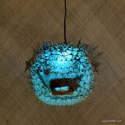 Extra Large Puffer Fish Lamp Blue 4