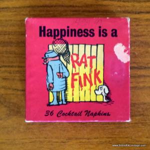 Vintage 1963 Cocktail Napkins - Happiness is a Rat Fink 1