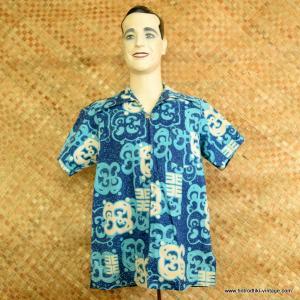 baae4410b 1960's Men's Vintage Blue & White Zipped Hawaiian Shirt