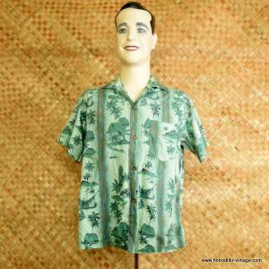 7f8ed0483 1960's Mens Vintage Green & Gold Cotton Hawaiian Shirt – Rare Waikikian
