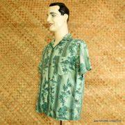 1960's Mens Green Hawaiian Cotton Shirt 3