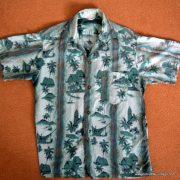 1960's Mens Green Hawaiian Cotton Shirt 8