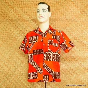 0b18dfb7 1960's Mens 'Momi's Fashions' Vintage Orange & Brown Barkcloth Hawaiian  Shirt