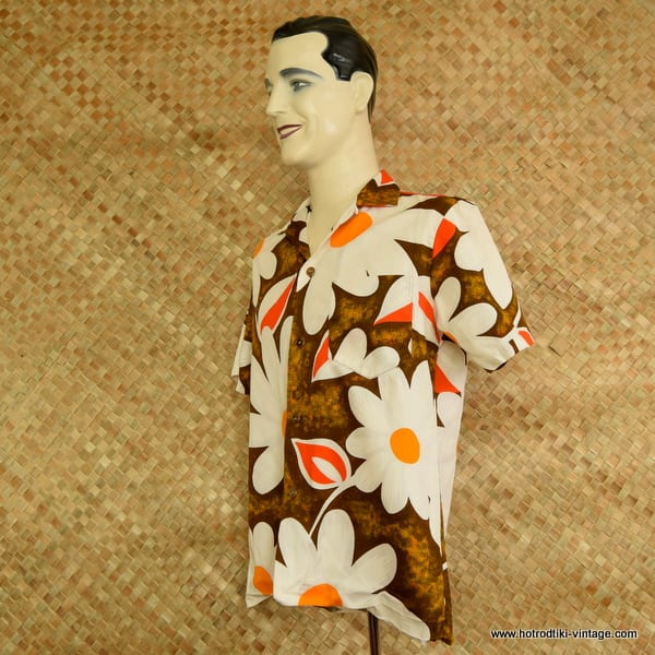 b6b5519c ... 1960's Mens Royal Hawaiian Brown & Orange Hawaiian Shirt 3; 1960's ...
