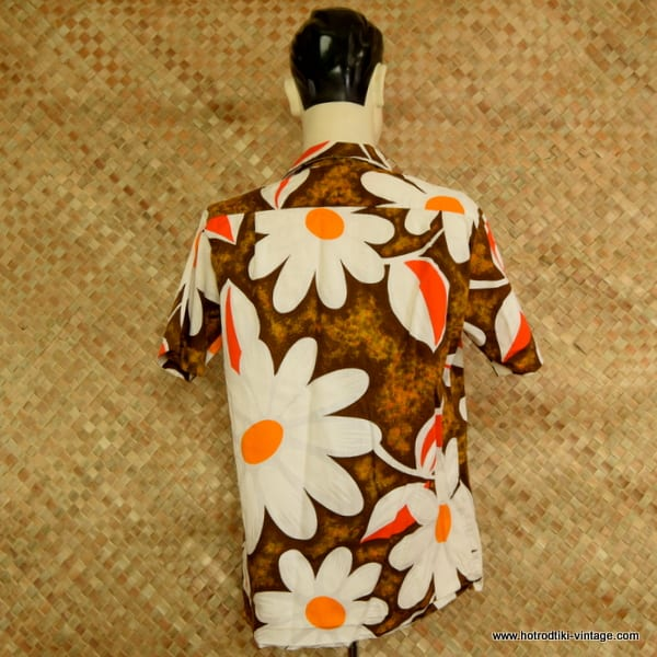 b73105ee 1960's Mens 'Royal Hawaiian' Vintage Orange & Brown Barkcloth ...