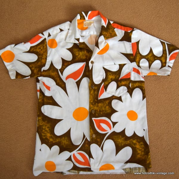 92e86fe9 1960's Mens 'Royal Hawaiian' Vintage Orange & Brown Barkcloth Hawaiian Shirt