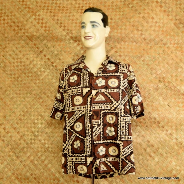 1960's Mens Ui-Maikai Brown Hawaiian Shirt 1