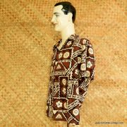 1960's Mens Ui-Maikai Brown Hawaiian Shirt 4