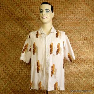 9b5b80944 Vintage Mens 'Roxy' Cream & Brown Tiki Hawaiian Shirt