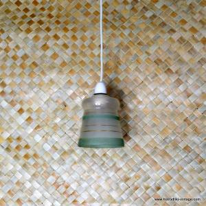 Vintage 1950's Gold & Green Frosted Glass Ceiling Lamp 1
