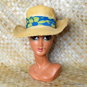 Vintage 1960's Ladies Happy Cappers Straw Large Brimmed Sun Hat 1