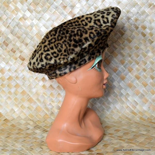 fbfce40eb67df ... Vintage Ladies Kenzo Paris Leopard Print Faux Fur Large Beret 3 ...