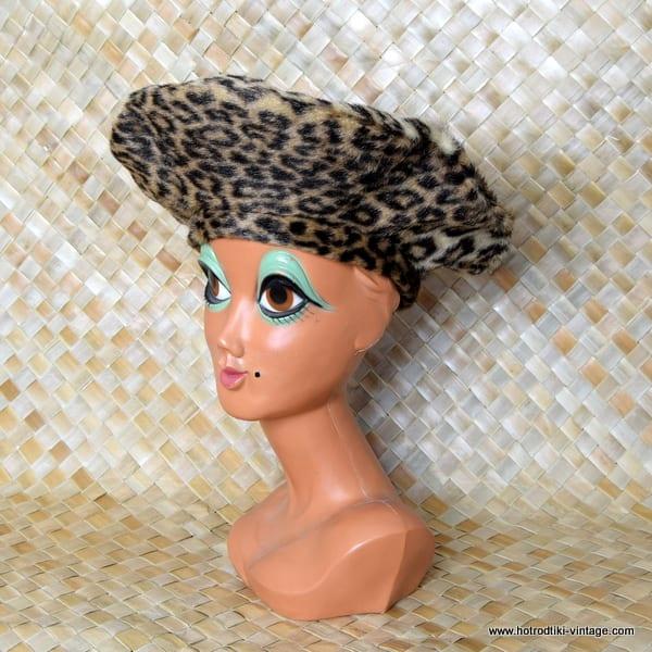 b92830c6e5a36 ... Leopard Print Faux Fur Large Beret 7  Vintage ...