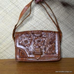 Ladies Vintage Leather Mexican Tooled Tourist Handbag 1