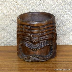 Vintage Carved Wood Handled Tiki Mug 1