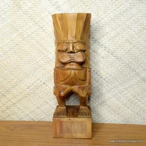 Vintage Large Wooden Hawaiian Tiki Carving Statue 1
