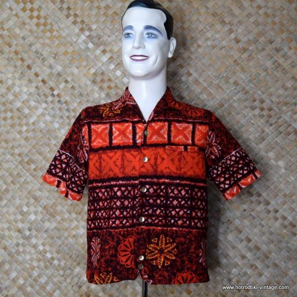 2e313faeb0fb 1960's Vintage Mens 'Iolani Hapa Jac' Red Hawaiian Shirt - HRTV