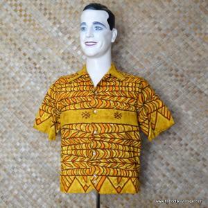 7e4e978cf 1950's Vintage Mens 'Iolani Hapa Jac' Mustard Hawaiian Shirt