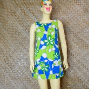 1960's Ladies Vintage Blue & Green Hawaiian Playsuit 1