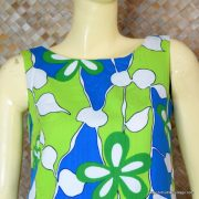 1960's Ladies Vintage Blue & Green Hawaiian Playsuit 2