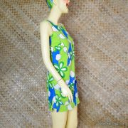 1960's Ladies Vintage Blue & Green Hawaiian Playsuit 5