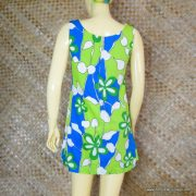 1960's Ladies Vintage Blue & Green Hawaiian Playsuit 6