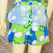 1960's Ladies Vintage Blue & Green Hawaiian Playsuit 8