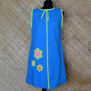 1960's Ladies Vintage Capus Girl Blue Dress with Large Flowers 1