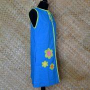 1960's Ladies Vintage Capus Girl Blue Dress with Large Flowers 4