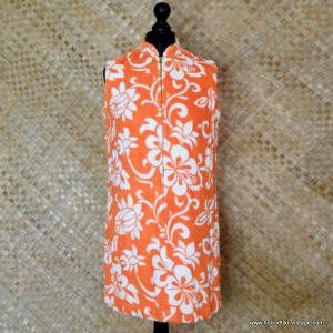 1960's Ladies Vintage Orange & White Towelling Dress Cover up 1