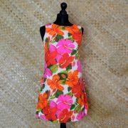 1960's Ladies Vintage Pacific Isle Pink & Orange Hawaiian Dress 2