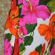 1960's Ladies Vintage Pacific Isle Pink & Orange Hawaiian Dress 5