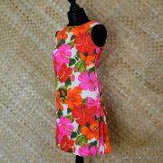 1960's Ladies Vintage Pacific Isle Pink & Orange Hawaiian Dress 6