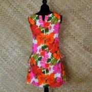 1960's Ladies Vintage Pacific Isle Pink & Orange Hawaiian Dress 7
