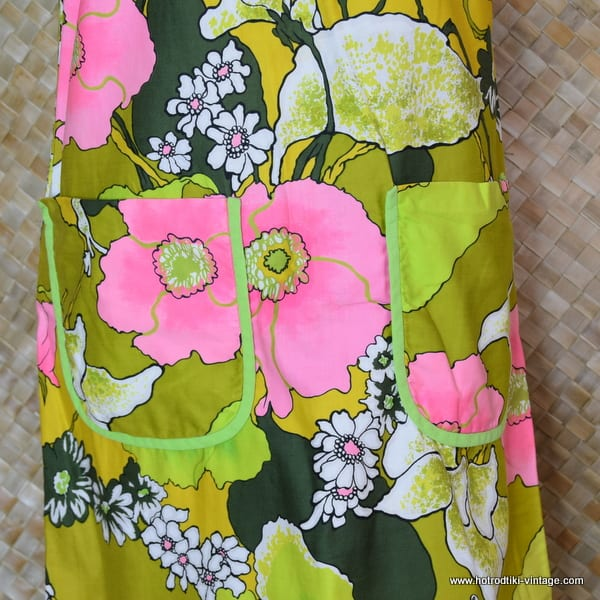 e5a63ac137063 1960's Ladies Vintage 'Sears Hawaiian Fashions' Green Dress - HRTV