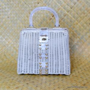1960's Ladies Vintage White Wicker & White Lucite Handbag 1