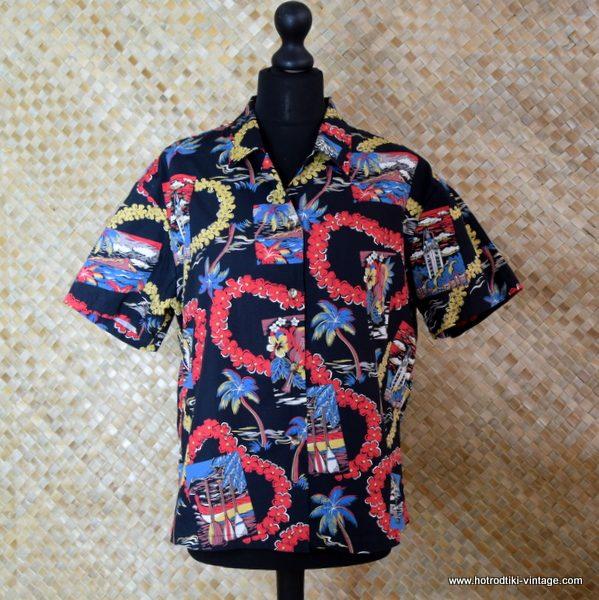 Ladies Vintage Style Hawaiian Shirt in Black 1