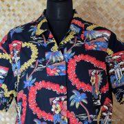 Ladies Vintage Style Hawaiian Shirt in Black 3